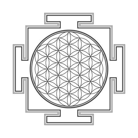 sri yantra: vector black outline hinduism  flower of life yantra illustration circles diagram isolated on white background Illustration