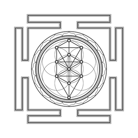 yantra: vector black outline tree of life yantra illustration sacred diagram isolated on white background