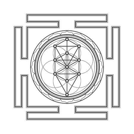 sri yantra: vector black outline tree of life yantra illustration sacred diagram isolated on white background