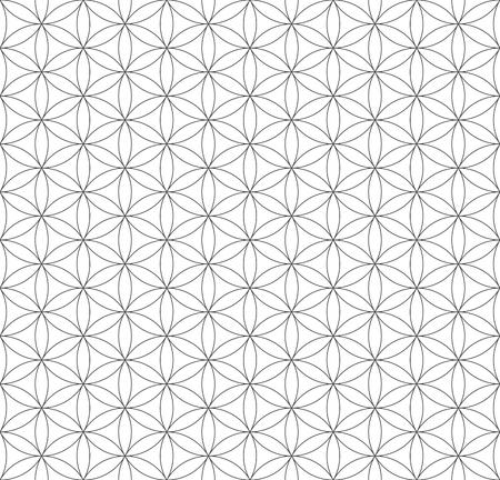 vecteur contour noir monochrome hindouisme sacré fleur de la géométrie de la vie seamless fond bleu