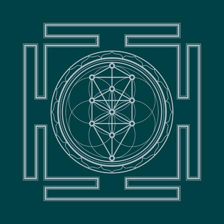 sacral symbol: vector silver outline tree of life yantra illustration sacred diagram isolated on dark background Illustration