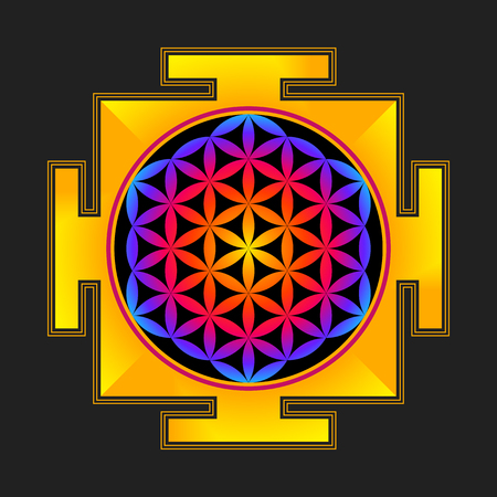 sri yantra: vector colored hinduism flower of life yantra illustration circles diagram isolated on black background