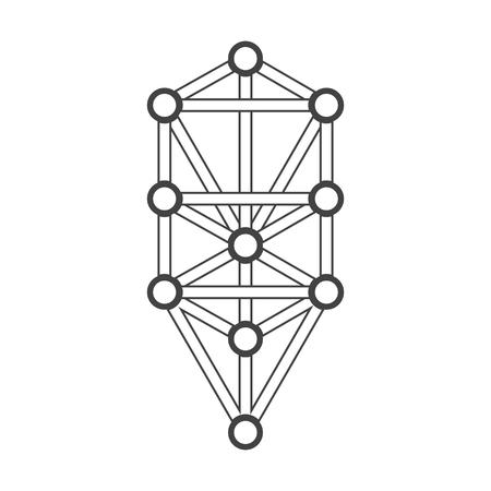 kabbalah: vector black outline tree of life illustration Kabbalah diagram isolated white background