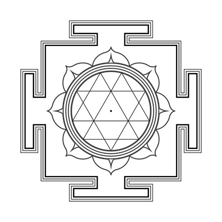 vector black outline hinduism Durga yantra Dum Durgaye illustration triangles diagram isolated on white background