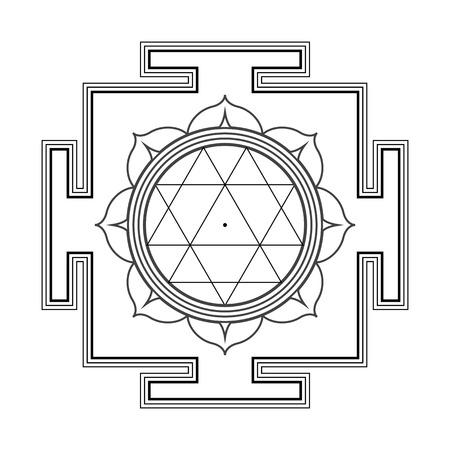 sri yantra: vector black outline hinduism Durga yantra Dum Durgaye illustration triangles diagram isolated on white background