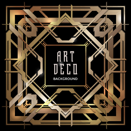geometric design: vector shiny copper metal color retro art deco futuristic decoration isolated black layout background
