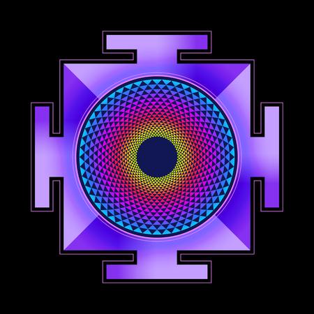 sri yantra: vector colored hinduism thousand petal Sahasrara yantra illustration diagram isolated black background Illustration