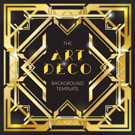 design layout: vector shiny gold metal color retro art deco futuristic decoration isolated black layout background