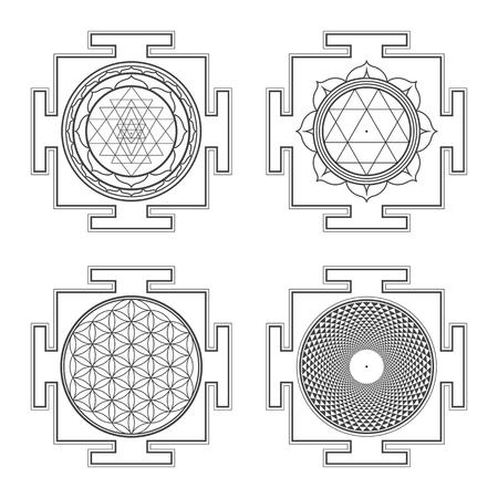 vector black outline hinduism Sri Durga Flower of life Sahasrara yantra illustrations diagram isolated collection white background