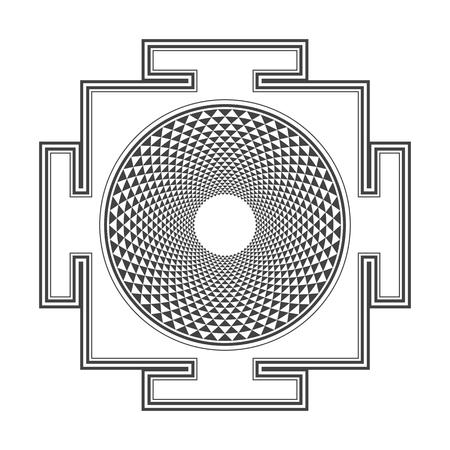 vector black outline hinduism thousand petal Sahasrara yantra illustration triangles diagram isolated on white background
