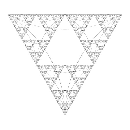 sacral: vector black color triangle sacral geometry fractal abstract decoration isolated illustration white background Illustration