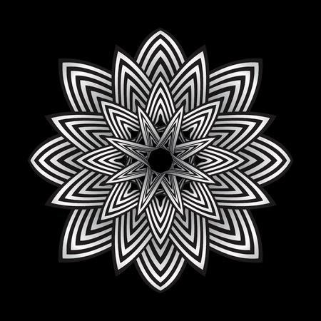 arte optico: vector aislado arte óptico decoración de rayas resumen de flores de fondo negro Vectores