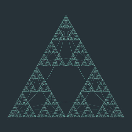 sacral: vector teal color triangle sacral geometry fractal abstract decoration isolated illustration dark background