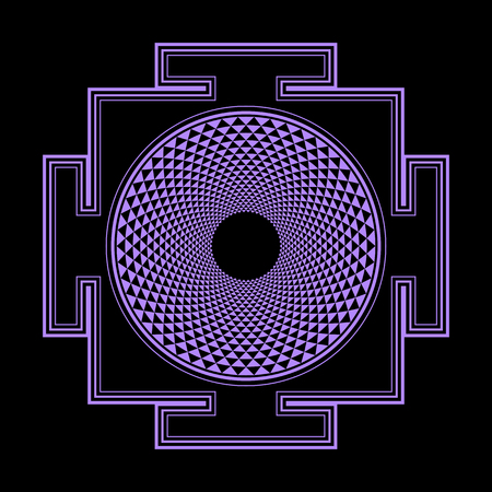 sri yantra: vector violet outline hinduism thousand petal Sahasrara yantra illustration diagram isolated black background