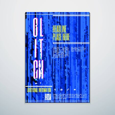 glitch: vector blue color abstract digital glitch art design vertical flyer poster banner template isolated light background