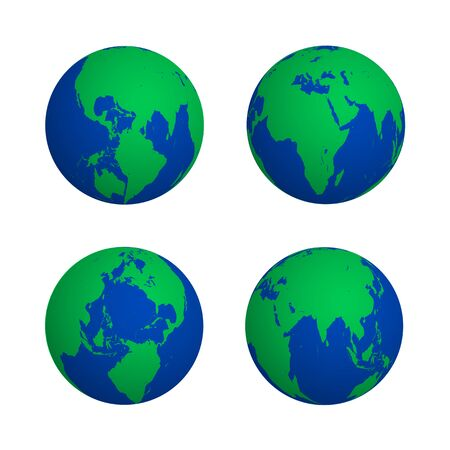 vector blue green color globe earth shadow map various view set isolated illustration white background