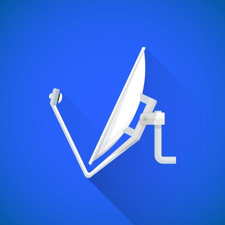 satellite tv: vector color flat design satellite tv dish antenna illustration long shadow isolated blue background Illustration