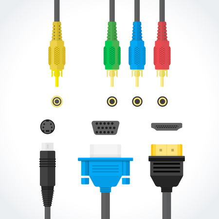 rca: vector color flat design video connectors plugs S-Video RCA component HDMI VGA port illustration collection isolated white background