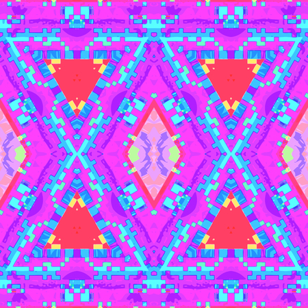vector pink violet blue vibrant color abstract glitch kaleidoscopic seamless pattern