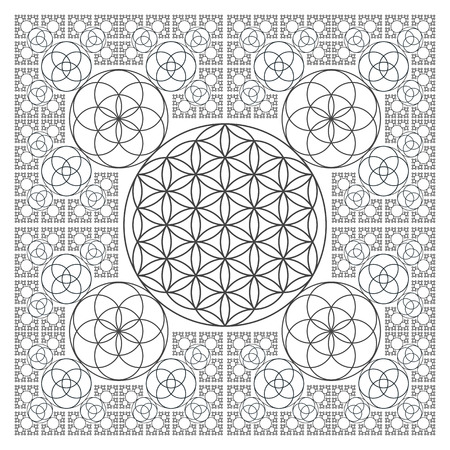 vector round black contour monochrome sacred geometry decoration flower of life seed circle fractal isolated white background