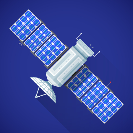 orbital spacecraft: vector color flat design satellite broadcast module antenna solar panels illustration long shadow isolated blue background