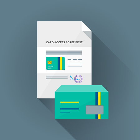 smart card: vector color flat design conditional access chip smart card agreement identity envelope illustration long shadow isolated blue background