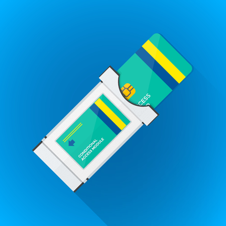 smart card: vector color flat design satellite conditional-access module chip smart card illustration long shadow isolated blue background