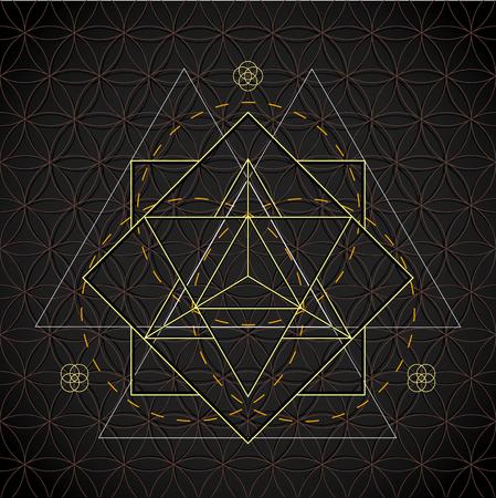 vector merkaba light contour monochrome sacred geometry decoration flower of life circle isolated dark background