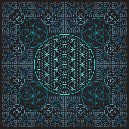 vector round light contour monochrome sacred geometry decoration flower of life seed circle fractal isolated dark background