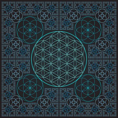 Vektor Runde Licht Kontur monochrome heilige Geometrie Dekoration Blume des Lebens Samen Kreis Fraktal dunklen Hintergrund Vektorgrafik