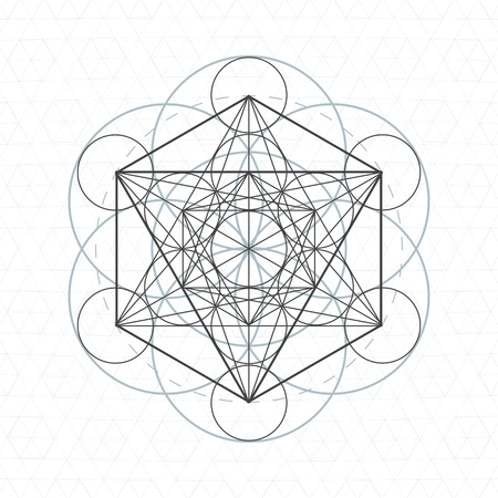 vector metatron dark contour monochrome sacred geometry decoration seed of life circle isolated white background