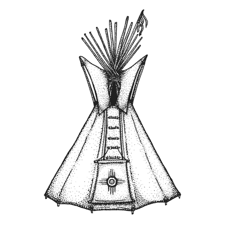 wigwam: vector black color monochrome dotted art retro tattoo gravure style native american conical tent teepee housing ethnic sun sign on door isolated decorative element realistic illustration white background Illustration