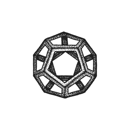 the polyhedron: vector black monochrome tattoo dotted art style decoration element geometric dodecahedron polyhedron illustration isolated white background