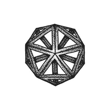 icosahedron: vector black monochrome tattoo dotted art style decoration element geometric icosahedron polyhedron illustration isolated white background