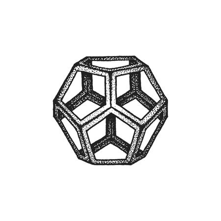 solid figure: vettore nero in bianco e nero tatuaggio punteggiata stile art elemento di decorazione geometrica dodecaedro poliedro illustrazione isolato sfondo bianco Vettoriali