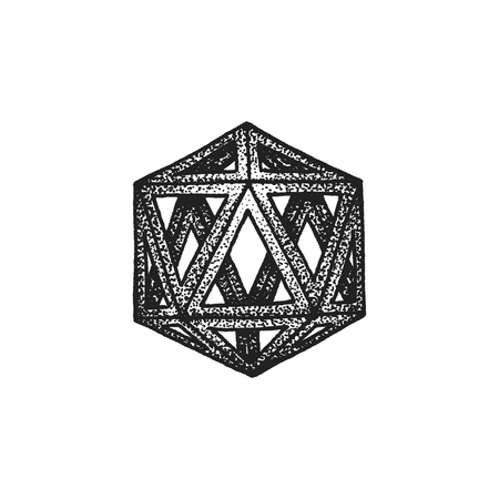 polyhedron: vector black monochrome tattoo dotted art style decoration element geometric icosahedron polyhedron illustration isolated white background