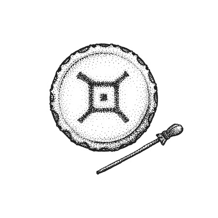 gravure: vector black color monochrome dotted art retro tattoo gravure style native american shaman tambourine drumstick spider ethnic sign isolated decorative element realistic illustration white background Illustration