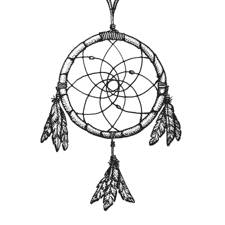 gravure: vector black color monochrome dotted art retro tattoo gravure style native american dream catcher isolated decorative element realistic illustration white background Illustration