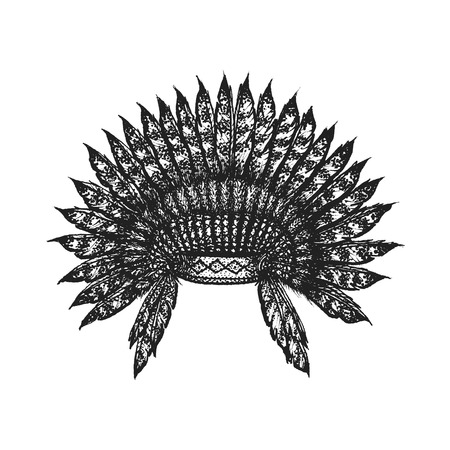 gravure: vector black color monochrome dotted art retro tattoo gravure style native american feather head war bonnet isolated decorative element realistic illustration white background