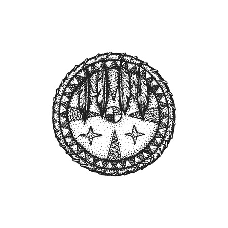 gravure: vector black color monochrome dotted art retro tattoo gravure style native american combat circle shield with feathers isolated decorative element realistic illustration white background Illustration
