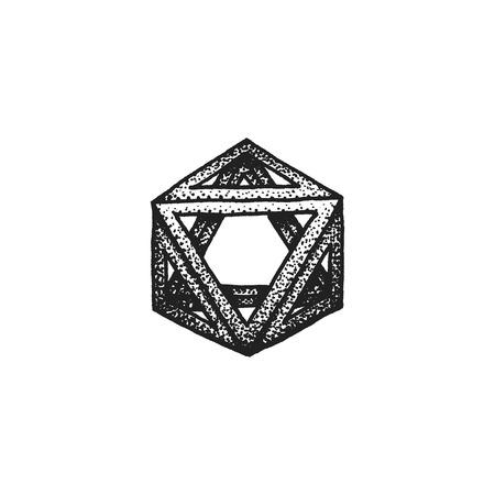 polyhedron: vector black monochrome tattoo dotted art style decoration element geometric octahedron polyhedron illustration isolated white background