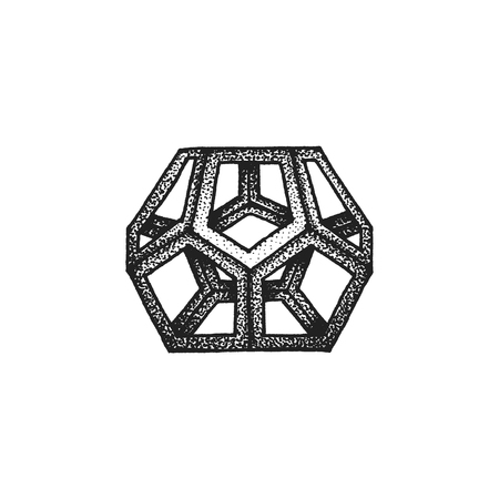 polyhedron: vector black monochrome tattoo dotted art style decoration element geometric dodecahedron polyhedron illustration isolated white background