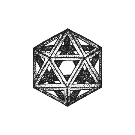 solid figure: vettore nero in bianco e nero tatuaggio punteggiata stile art elemento di decorazione geometrica icosaedro poliedro illustrazione isolato sfondo bianco Vettoriali