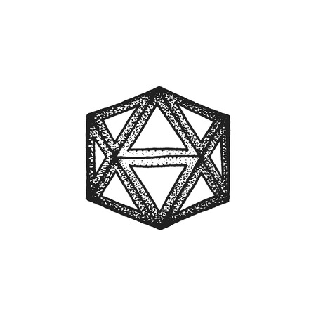 the polyhedron: vector black monochrome tattoo dotted art style decoration element geometric icosahedron polyhedron illustration isolated white background