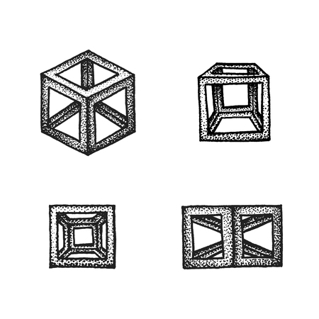 shapes background: vector black monochrome tattoo dotted art style decoration element set various geometric cube polyhedrons illustration isolated white background