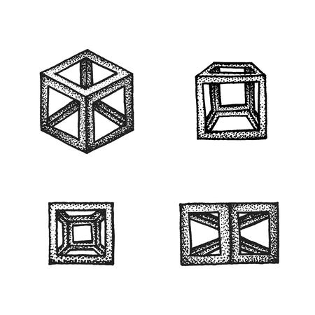 solid figure: vettore nero in bianco e nero arte del tatuaggio tratteggiata decorazione stile elemento impostare vari poliedri cubo geometrico illustrazione isolato sfondo bianco