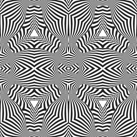 arte optico: aislado del vector de color negro resumen arte óptico ilusión sin fisuras patrón de decoración de diseño de fondo blanco Vectores