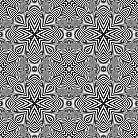 arte optico: vector black color abstract optical art illusion design decoration seamless pattern isolated white background Vectores