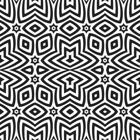 vector black color abstract optical art illusion design decoration seamless pattern isolated white background Illustration