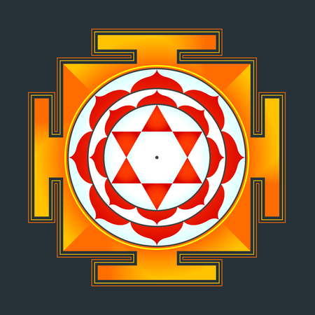 tantra: vector colored hinduism Bhuvaneshwari yantra Prakriti illustration sacred diagram isolated on black background